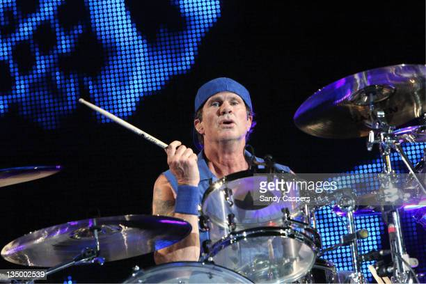Chad Smith of Red Hot Chili Peppers performs on stage at Olympiahalle on December 5 2011 in Munich Germany