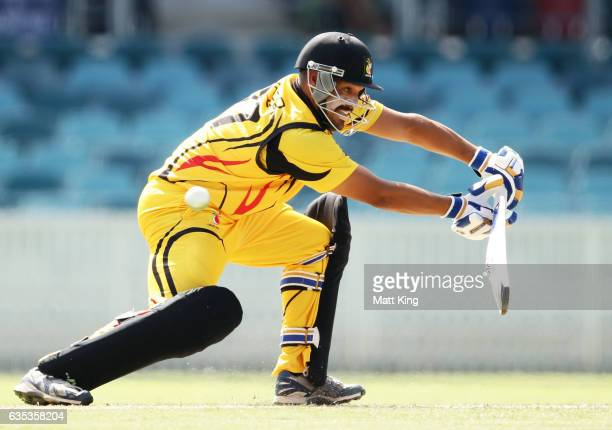 Chad Soper of Papua New Guinea bats during the T20 warm up match between ACT and Papua New Guinea at Manuka Oval on February 15 2017 in Canberra...