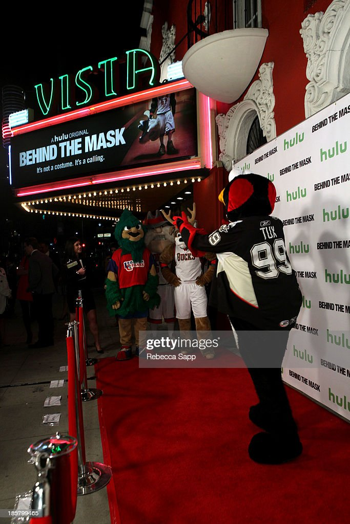 Chad Spencer as AHL hockey's Tux the Penguin at Hulu Presents The LA Premiere Of 'Behind the Mask' at the Vista Theatre on October 24, 2013 in Los Angeles, California.
