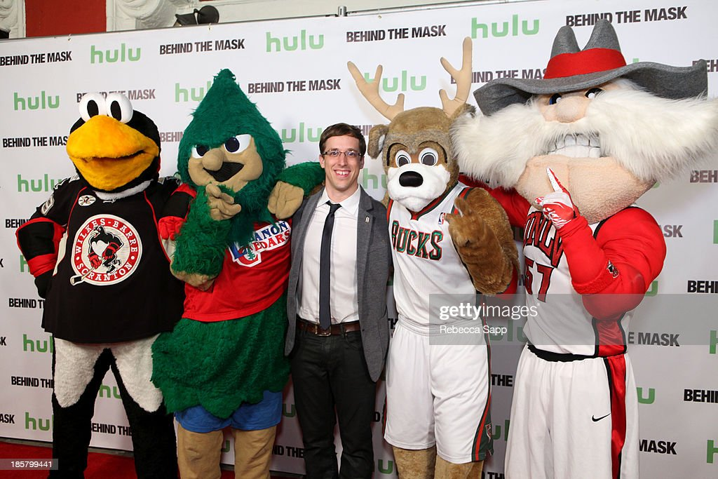 Chad Spencer as AHL hockey's Tux the Penguin, Michael Hostetter as Lebanon High School's Rooty the Cedar Tree, director Josh Greenbaum, Kevin Vanderkolk as NBA's Milwaukee Bucks' Bango and Jon 'Jersey' Goldman as UNLV's Hey Reb at Hulu Presents The LA Premiere Of 'Behind the Mask' at the Vista Theatre on October 24, 2013 in Los Angeles, California.