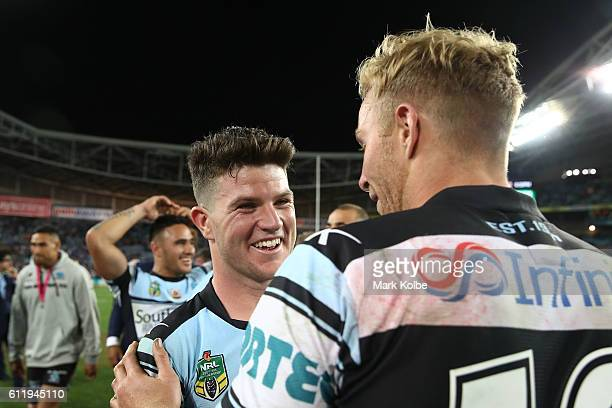 Chad Townsend of the Sharks celebrates winning the 2016 NRL Grand Final match between the Cronulla Sharks and the Melbourne Storm at ANZ Stadium on...