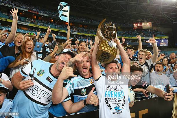 Chad Townsend of the Sharks celebrates with the crowd after victory in the 2016 NRL Grand Final match between the Cronulla Sharks and the Melbourne...