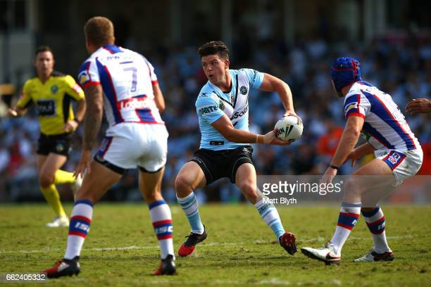 Chad Townsend of the Sharks passes the ball during the round five NRL match between the Cronulla Sharks and the Newcastle Knights at Southern Cross...