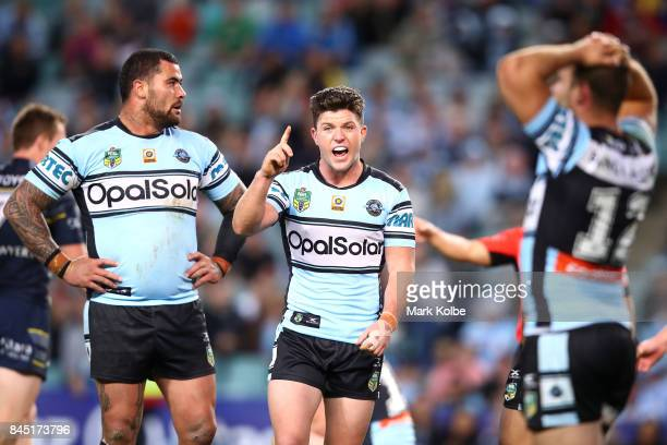 Chad Townsend of the Sharks shouts instructions to his team mates during the NRL Elimination Final match between the Cronulla Sharks and the North...
