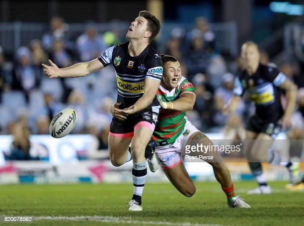 Chad Townsend of the Sharks spills the ball during the round 20 NRL match between the Cronulla Sharks and the South Sydney Rabbitohs at Southern...