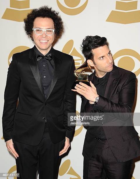 Chad Vaccarino and Ian Axel of A Great Big World pose in the press room at the 57th GRAMMY Awards at Staples Center on February 8 2015 in Los Angeles...