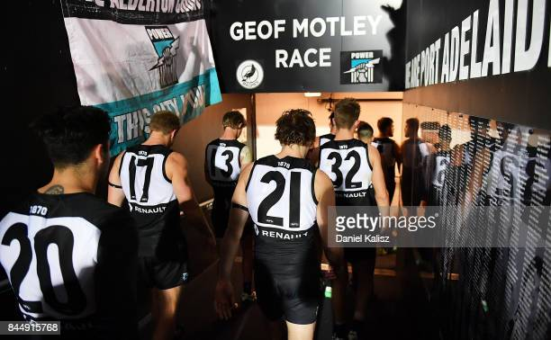 Chad Wingard and Jared Polec of the Power walk from the field after the AFL First Elimination Final match between Port Adelaide Power and West Coast...