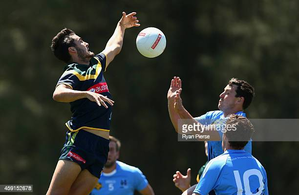 Chad Wingard of Australia in action during the International Rules practice match between Australia and the NSW Gaelic Football team Tom Wills Oval...