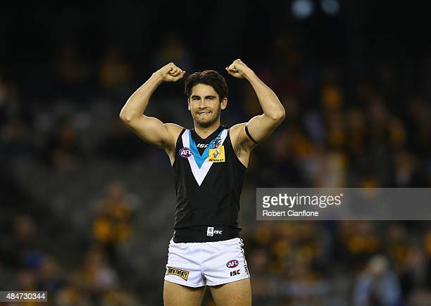 Chad Wingard of Port Adelaide celebrates on the siren after the Power defeated the Hawks during the round 21 AFL match between the Hawthorn Hawks and...