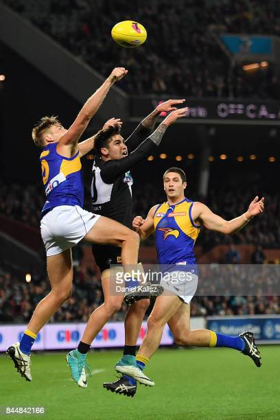 Chad Wingard of the Power competes for the ball during the AFL First Elimination Final match between Port Adelaide Power and West Coast Eagles at...
