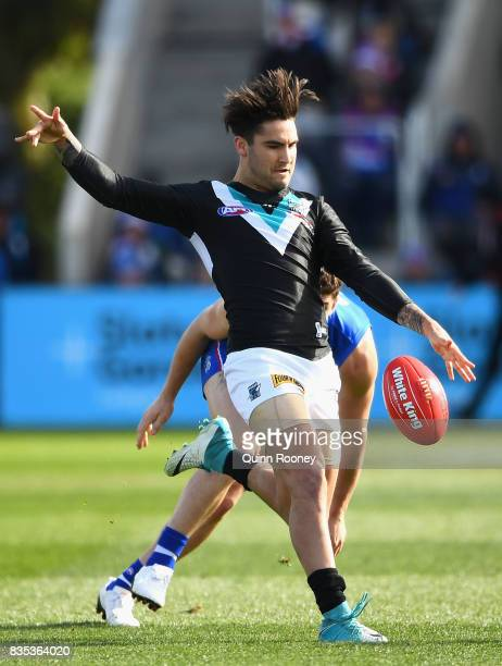 Chad Wingard of the Power kicks during the round 22 AFL match between the Western Bulldogs and the Port Adelaide Power at Mars Stadium on August 19...