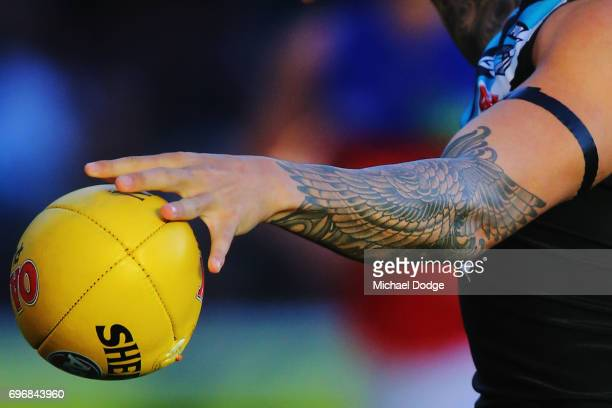 Chad Wingard of the Power kicks the ball during the round 13 AFL match between the Port Adelaide Power and the Brisbane Lions at Adelaide Oval on...