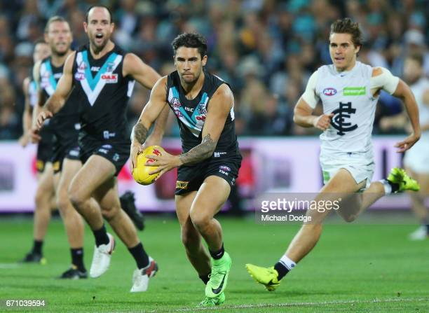 Chad Wingard of the Power kicks the ball during the round five AFL match between the Port Adelaide Power and thew Carlton Blues at Adelaide Oval on...