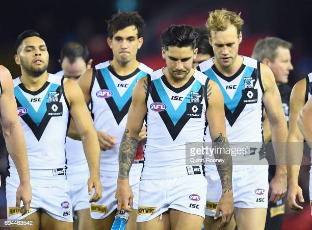 Chad Wingard of the Power looks dejected after losing the round 12 AFL match between the Essendon Bombers and the Port Adelaide Power at Etihad...