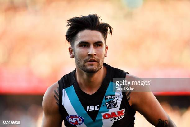 Chad Wingard of the Power looks on during the round 21 AFL match between Port Adelaide Power and the Collingwood Magpies at Adelaide Oval on August...