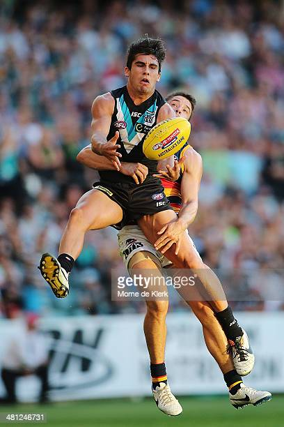 Chad Wingard of the Power takes a mark during the round two AFL match between the Port Adelaide Power and the Adelaide Crows at Adelaide Oval on...