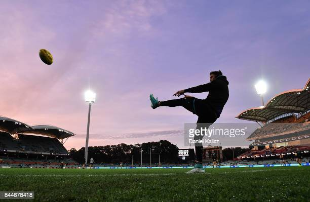 Chad Wingard of the Power warms up prior to the AFL First Elimination Final match between Port Adelaide Power and West Coast Eagles at Adelaide Oval...