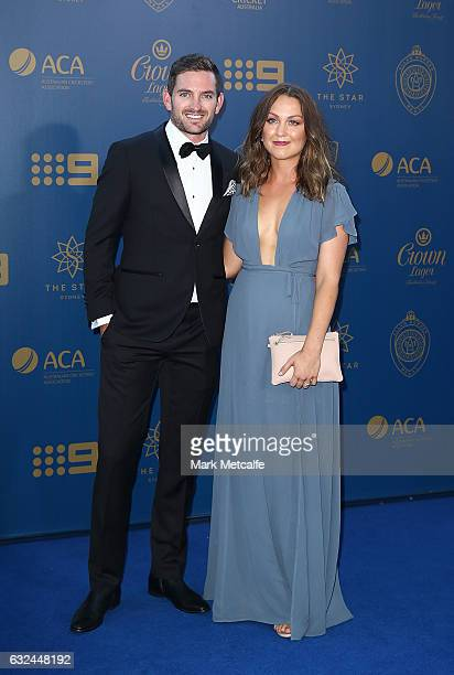 Chadd Sayers and Stephanie Sayers arrive ahead of the 2017 Allan Border Medal at The Star on January 23 2017 in Sydney Australia