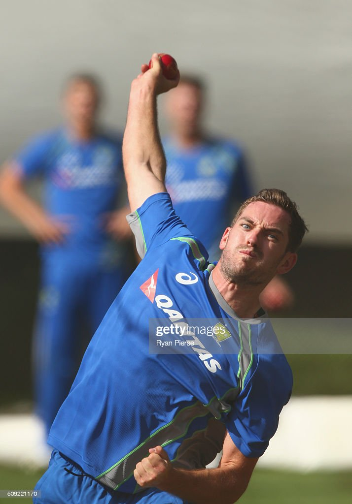 Chadd Sayers of Australia bowls during an Australian nets session at Basin Reserve on February 11, 2016 in Wellington, New Zealand.