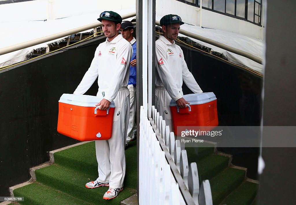 Chadd Sayers of Australia carries the drinks during day two of the Test match between New Zealand and Australia at Basin Reserve on February 13, 2016 in Wellington, New Zealand.