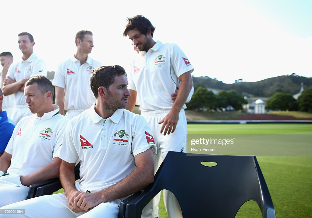 Chadd Sayers of Australia looks on during the team photo during an Australian nets session at Basin Reserve on February 11, 2016 in Wellington, New Zealand.