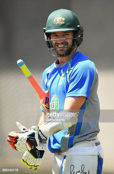 Chadd Sayers of Australia prepares to bat in the nets during an Australian training session on December 23 2016 in Melbourne Australia