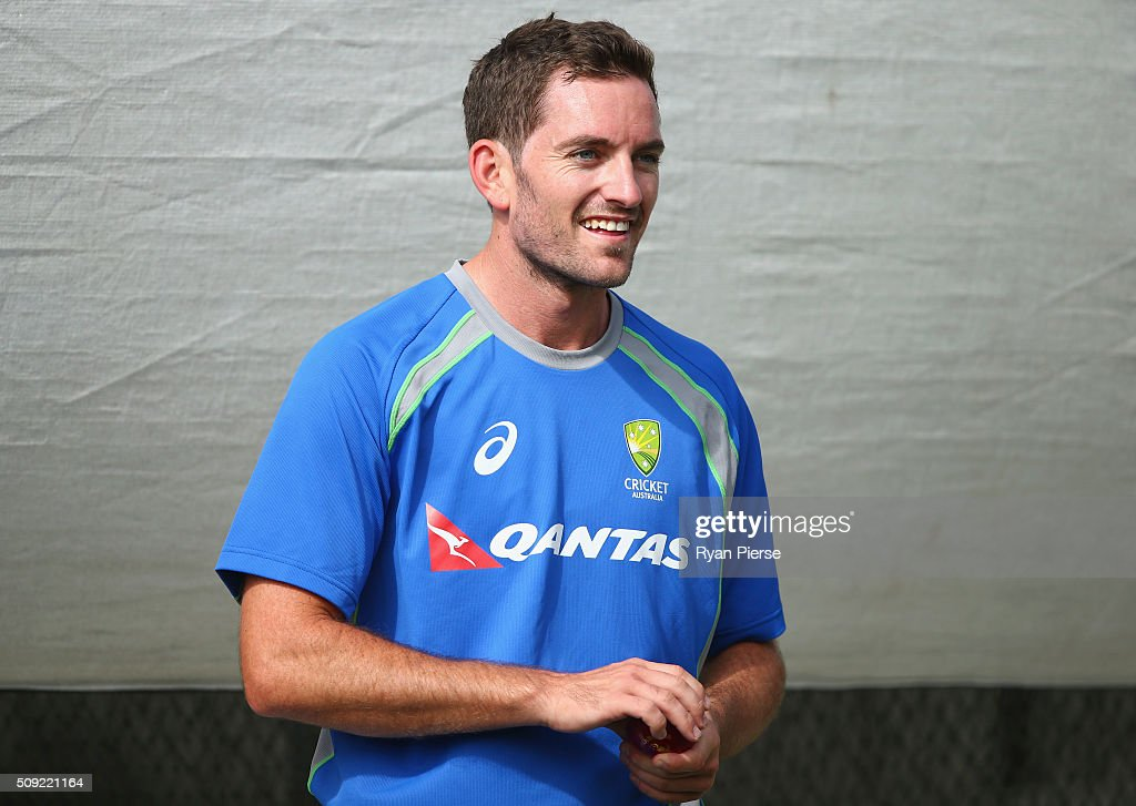 Chadd Sayers of Australia prepares to bowl during an Australian nets session at Basin Reserve on February 11, 2016 in Wellington, New Zealand.