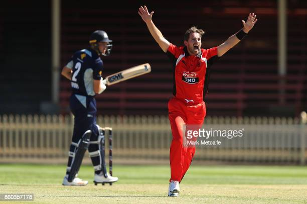 Chadd Sayers of the Redback appeals unsuccessfully for the wicket of Matt Short of the Bushrangers during the JLT One Day Cup match between Victoria...