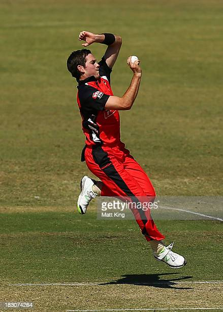 Chadd Sayers of the Redbacks abowls during the Ryobi Cup match between the South Australia Redbacks and the Victoria Bushrangers at Bankstown Oval on...