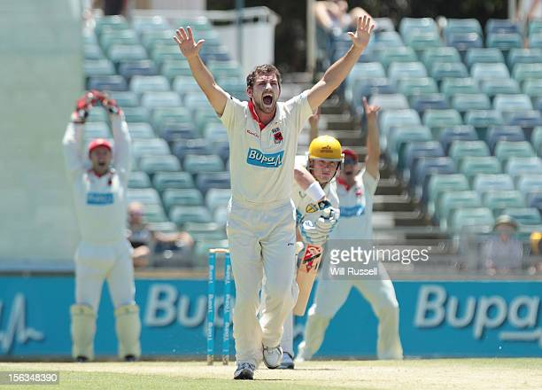 Chadd Sayers of the Redbacks appeals for an LBW on Marcus North of the Warriors in the second innings during day three of the Sheffield Shield match...