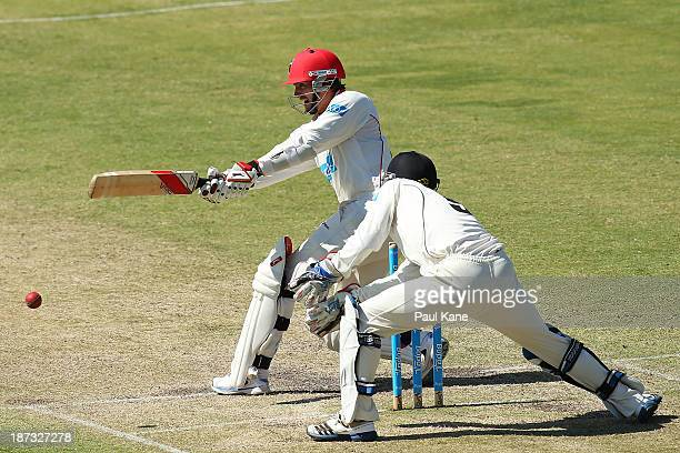 Chadd Sayers of the Redbacks bats during day three of the Sheffield Shield match between the Western Australia Warriors and the South Australia...