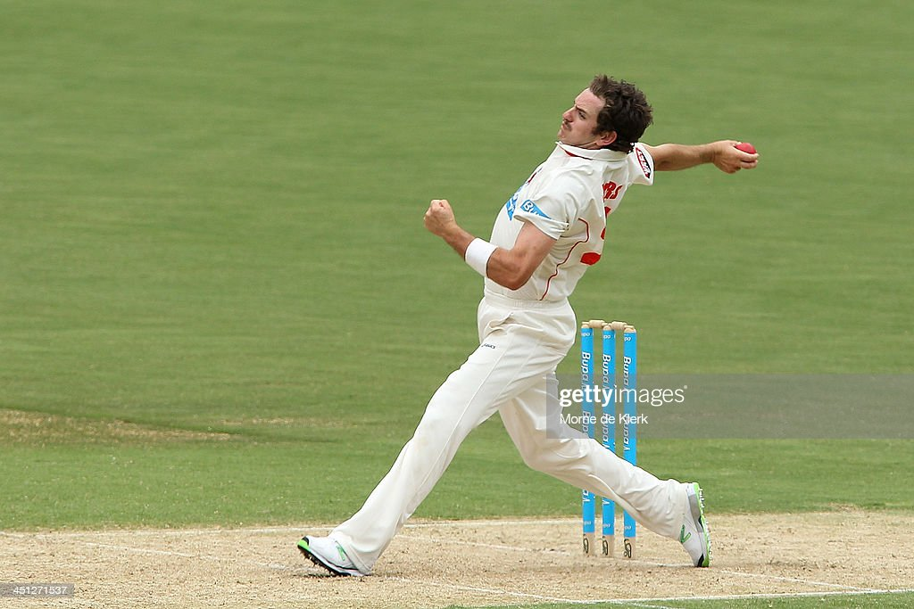 Chadd Sayers of the Redbacks bowls during day one of the Sheffield Shield match between the South Australia Redbacks and the Tasmania Tigers at Adelaide Oval on November 22, 2013 in Adelaide, Australia.