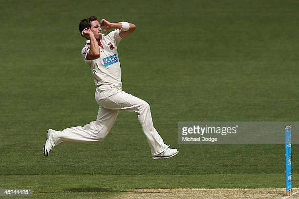Chadd Sayers of the Redbacks bowls during day one of the Sheffield Shield match between the Victoria Bushrangers and the South Australia Redbacks at...