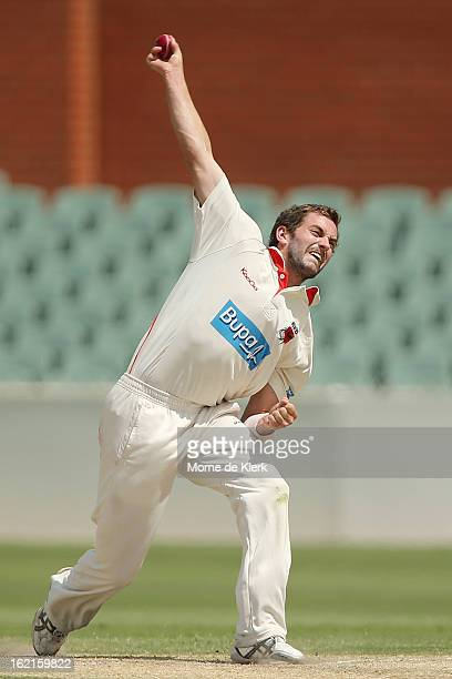 Chadd Sayers of the Redbacks bowls during day two of the Sheffield Shield match between the South Australian Redbacks and the New South Wales Blues...