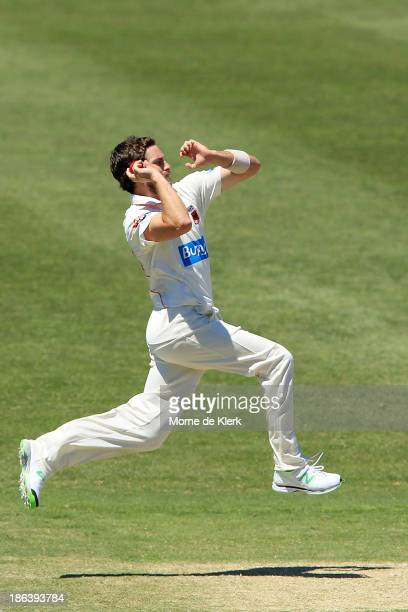 Chadd Sayers of the Redbacks bowls during day two of the Sheffield Shield match between the South Australia Redbacks and the Queensland Bulls at...