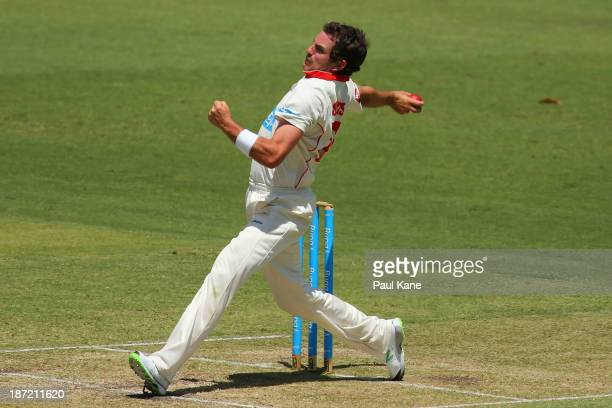 Chadd Sayers of the Redbacks bowls during day two of the Sheffield Shield match between the Western Australia Warriors and the South Australia...
