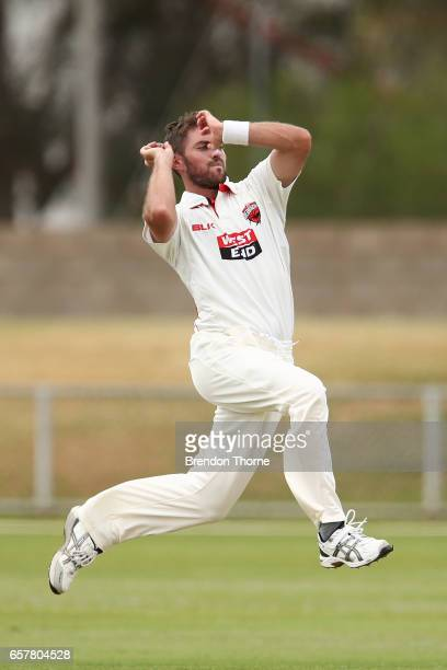 Chadd Sayers of the Redbacks bowls during the Sheffield Shield final between Victoria and South Australia on March 26 2017 in Alice Springs Australia