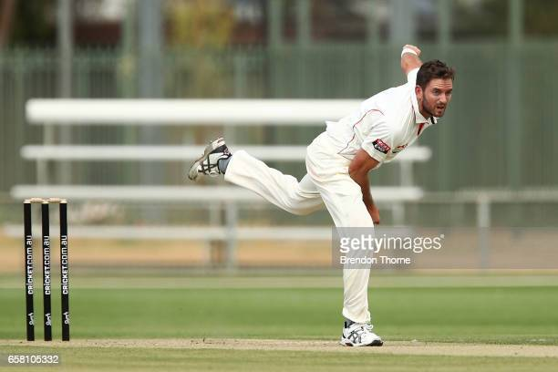 Chadd Sayers of the Redbacks bowls during the Sheffield Shield final between Victoria and South Australia on March 27 2017 in Alice Springs Australia