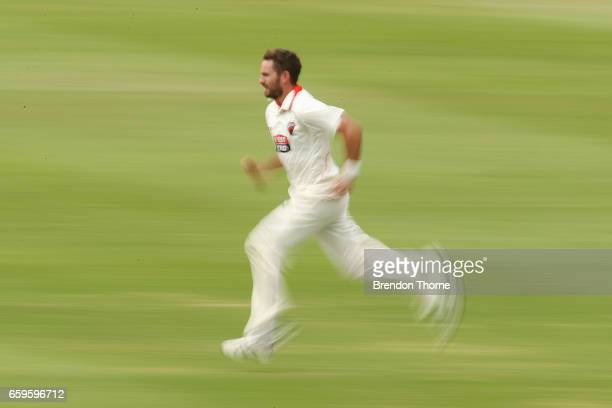 Chadd Sayers of the Redbacks bowls during the Sheffield Shield final between Victoria and South Australia on March 29 2017 in Alice Springs Australia