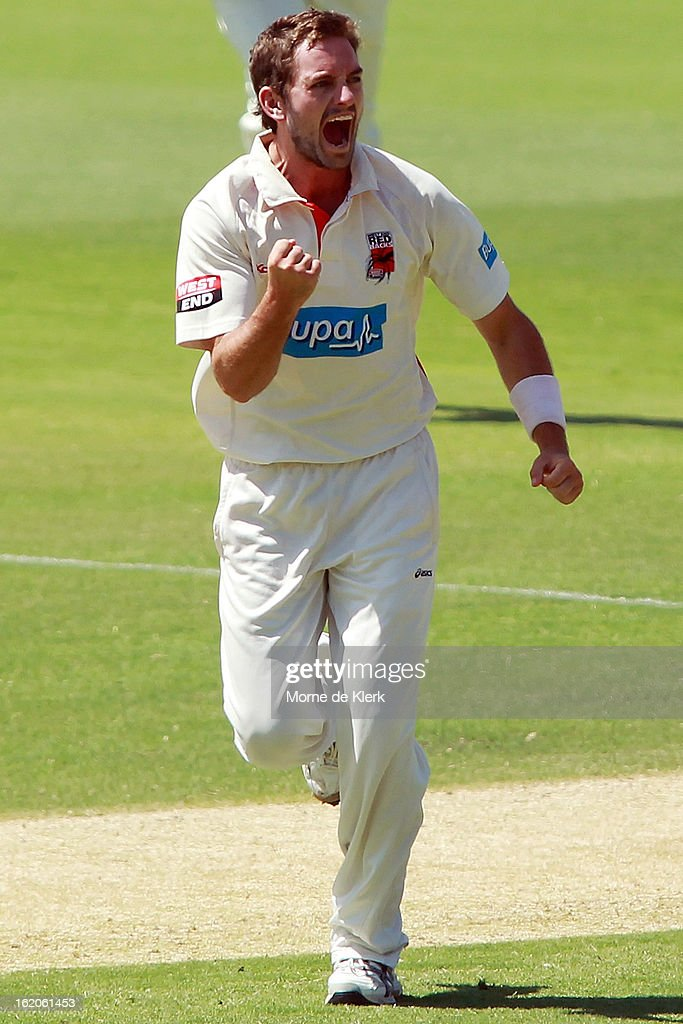 Chadd Sayers of the Redbacks celebrates after getting a wicket during day one of the Sheffield Shield match between the South Australian Redbacks and the New South Wales Blues at Adelaide Oval on February 19, 2013 in Adelaide, Australia.