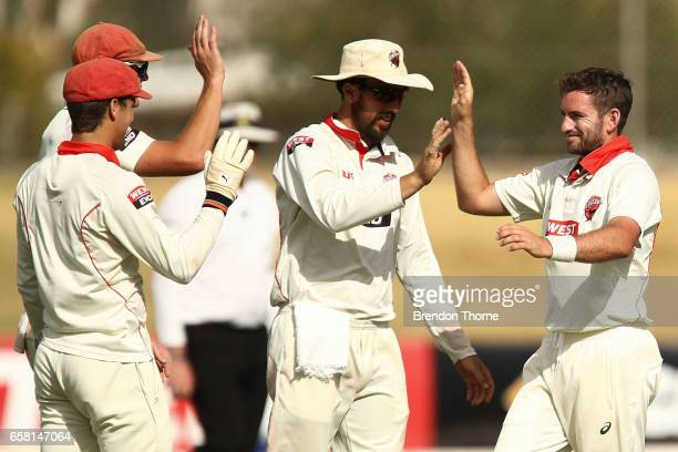 Chadd Sayers of the Redbacks celebrates with team mates after claiming the wicket of Chris Tremain of the Bushrangers during the Sheffield Shield...