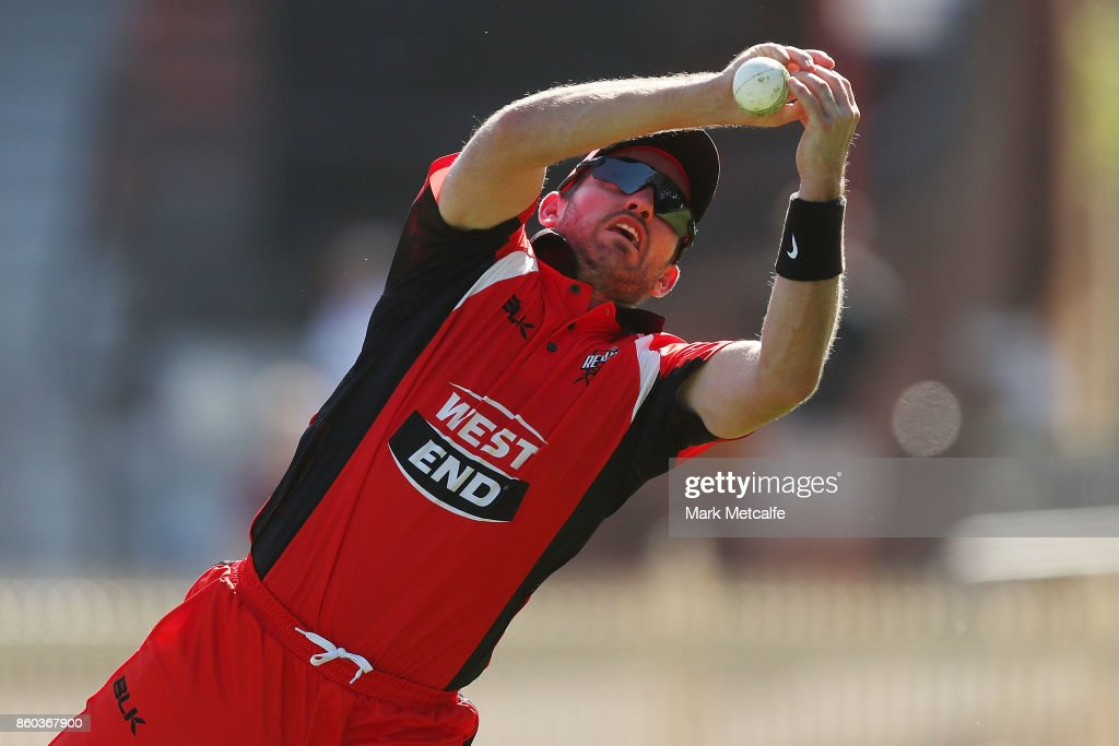 Chadd Sayers of the Redbacks drops a catch during the JLT One Day Cup match between Victoria and South Australia at North Sydney Oval on October 12, 2017 in Sydney, Australia.