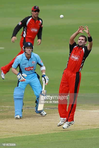 Chadd Sayers of the Redbacks fields the ball during the Ryobi One Day Cup match between the South Australian Redbacks and the New South Wales Blues...