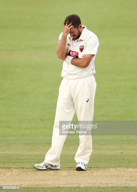 Chadd Sayers of the Redbacks reacts during the Sheffield Shield final between Victoria and South Australia on March 29 2017 in Alice Springs Australia