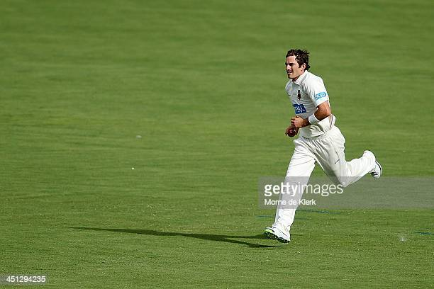 Chadd Sayers of the Redbacks runs in to bowl during day one of the Sheffield Shield match between the South Australia Redbacks and the Tasmania...