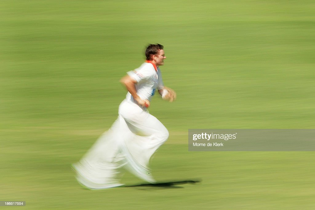 Chadd Sayers of the Redbacks runs in to bowl during day three of the Sheffield Shield match between the South Australia Redbacks and the Queensland Bulls at Glenelg Oval on November 1, 2013 in Adelaide, Australia.