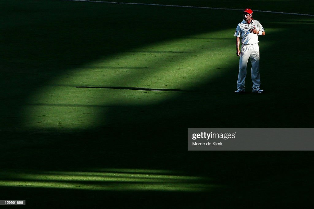 Chadd Sayers of the Redbacks stands in the outfield during day one of the Sheffield Shield match between the South Australia Redbacks and the Victoria Bushrangers at Adelaide Oval on January 24, 2013 in Adelaide, Australia.