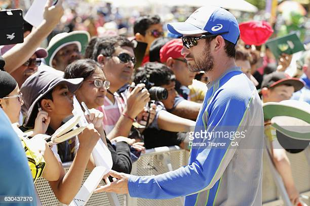 Chadd Sayers signs autographs during Family Day At The 'G' at Melbourne Cricket Ground on December 23 2016 in Melbourne Australia