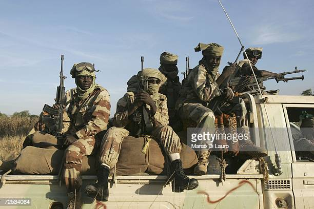 Chadian Army soldiers drive to Bandikao as they conduct a rescue mission on November 13 2006 in Bandikao Village 90 Km south of Goz Beida Chad...