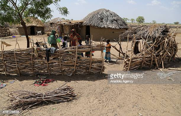 N'DJAMENA CHAD JUNE 22 A Chadian family in a village near the capital N'Djamena Chad on June 22 2015 Turkeys Humanitarian Relief Foundation visited...